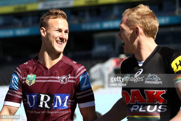 Daly CherryEvans see and Peter Wallace of the Panthers share a joke during the 2017 NRL Finals Series Launch at ANZ Stadium on September 4 2017 in...