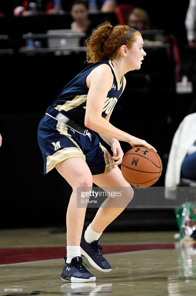 Daly Sullivan #1 of the Mount St. Mary's Mountaineers handles the ball against the Maryland Terrapins at Xfinity Center on December 6, 2017 in College Park, Maryland.