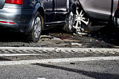 Detail with damage automobile after a car crash accident