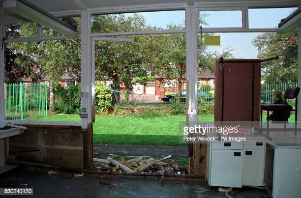 Damage caused to classroom at the Green Hall School in Atherton near Wigan Lancashire when a Citroen car driven by a 79 year old man crashed through...