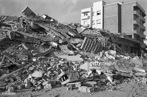 Damage in the Moroccan resort city of Agadir after it is hit by an earthquake a tidal wave and a fire