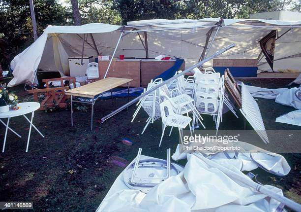 Damage in the tented village following a storm during the World Matchplay Golf Championship held at the Wentworth Golf Club Surrey 17th October 1987