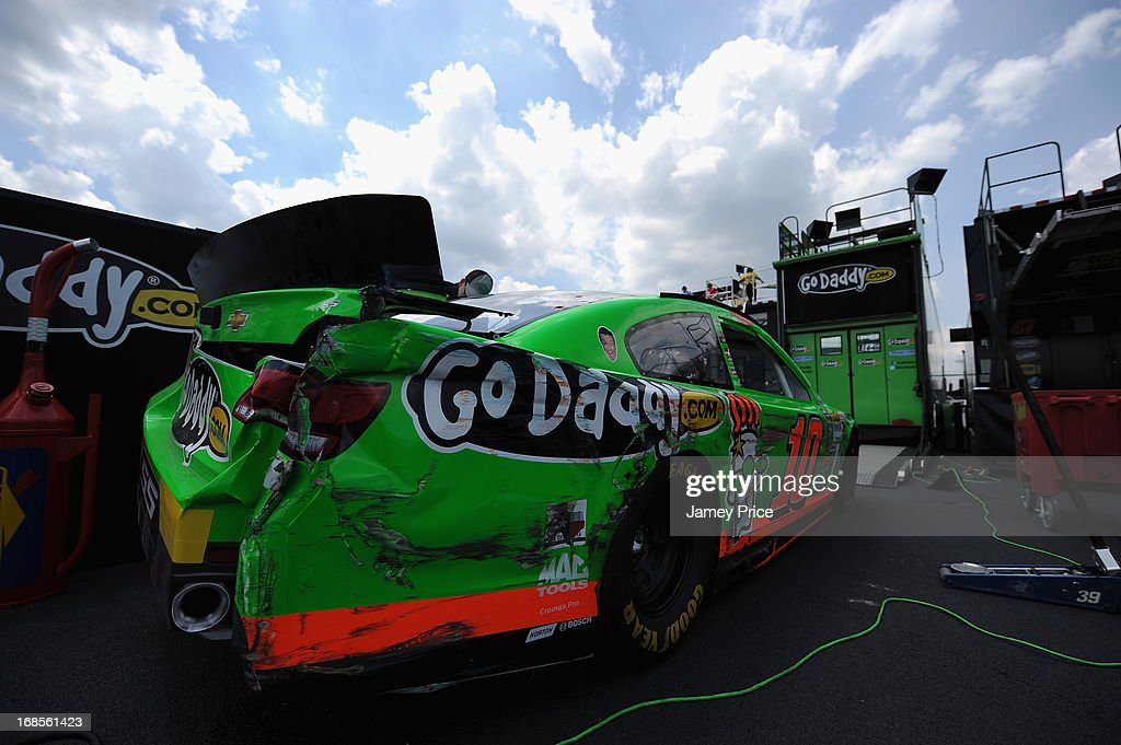 Damage is seen on the #10 GoDaddy.com Chevrolet driven by Danica Patrick (not pictured) during practice for the NASCAR Sprint Cup Series Bojangles' Southern 500 at Darlington Raceway on May 10, 2013 in Darlington, South Carolina.