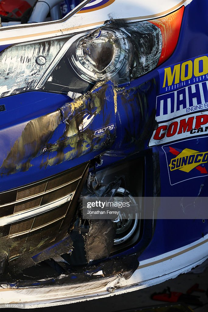 Damage seen on the #55 Aaron's Dream Machine Toyota, driven by Mark Martin during practice for the NASCAR Sprint Cup Series Sprint Unlimited at Daytona International Speedway on February 15, 2013 in Daytona Beach, Florida.