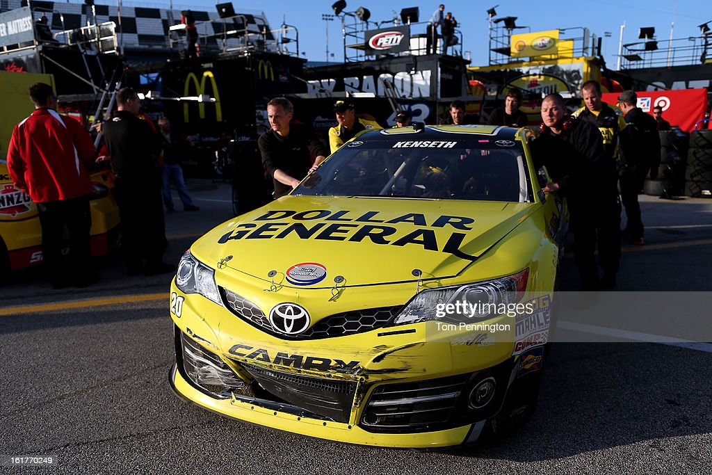 Damage seen on the #20 Dollar General Toyota, driven by Matt Kenseth, during practice for the NASCAR Sprint Cup Series Sprint Unlimited at Daytona International Speedway on February 15, 2013 in Daytona Beach, Florida.