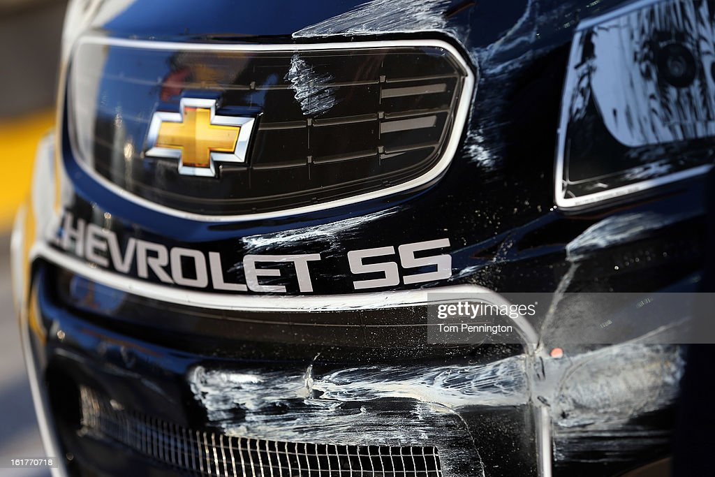 Damage seen on the #78 Furniture Row Racing Chevrolet, driven by Kurt Busch during practice for the NASCAR Sprint Cup Series Sprint Unlimited at Daytona International Speedway on February 15, 2013 in Daytona Beach, Florida.