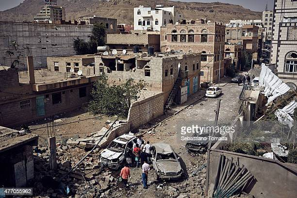 Damage that witnesses said was caused Saudi Arabian air strikes in a densely populated area of Sana'a Yemen around 1AM on June 13 2015 The district...