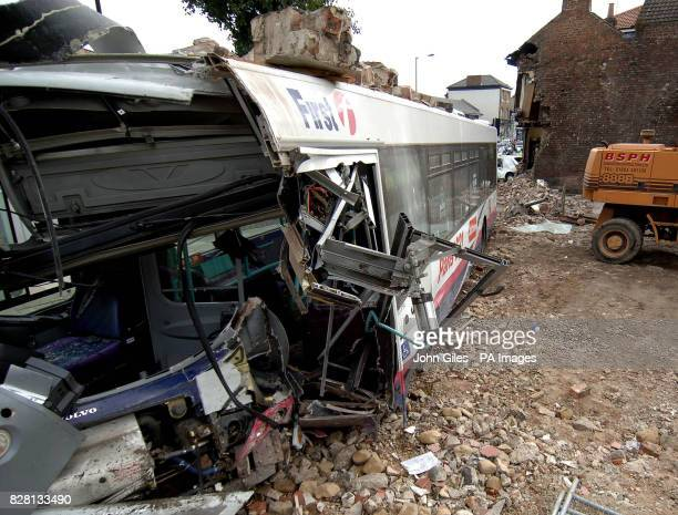 Damage to a bus after it ploughed Tuesday September 20 into an end terrace house in York demolishing a side wall The bus driver and people in the...