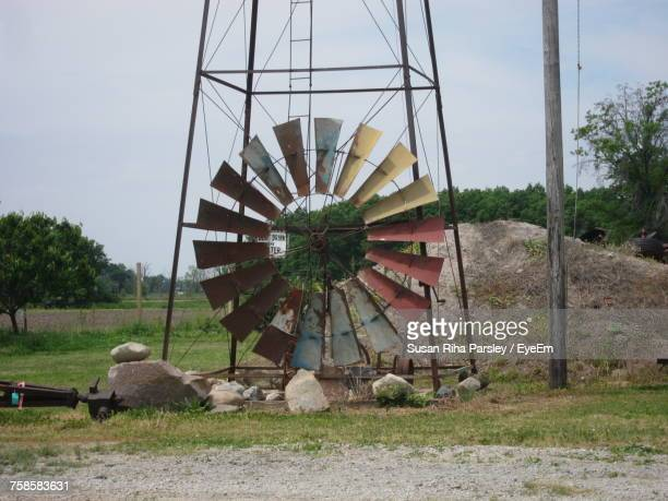Damaged American-Style Windmill On Field