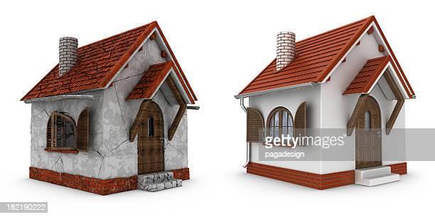 Häuser beschädigt und renovierte