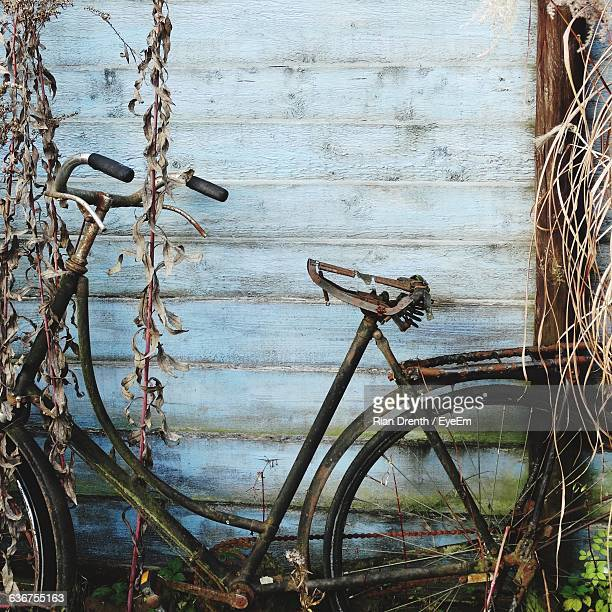 Damaged Bicycle Against Wall