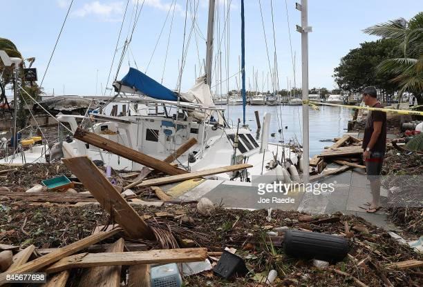 A damaged boat is seen at the Dinner Key marina after Hurricane Irma passed through the area on September 11 2017 in Miami Florida Hurricane Irma...