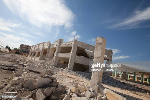 A'ZAZ ALEPPO SYRIA A damaged building from a MIG bombing raid in A'zaz Syria