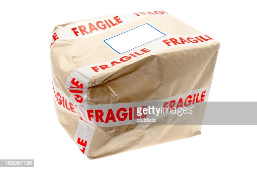 Damaged cardboard box that was marked fragile