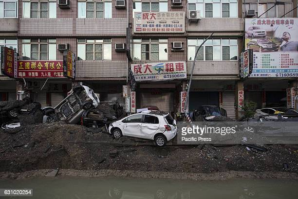 Damaged cars caused by the gas explosion A serious gas explosion caused by gas leaks occurred in the second largest city of Taiwan Kaohsiung This...