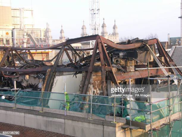 Damaged caused to the Immigration and Appeal Tribunal building off Chancery Lane in London following the fire in the roof on Thursday
