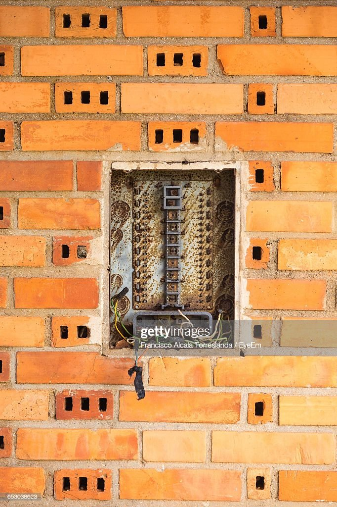 damaged fuse box on orange wall picture id653038623?s=612x612 old fuse box stock photos and pictures getty images Fuse Box vs Breaker Box at mr168.co