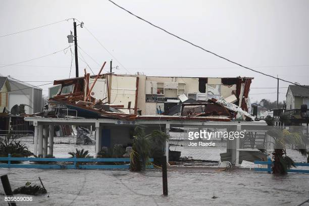 A damaged home is seen after Hurricane Harvey passed through on August 26 2017 in Rockport Texas Harvey made landfall shortly after 11 pm Friday just...
