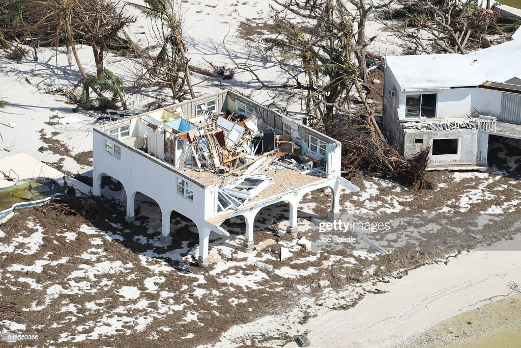 A damaged home is seen after Hurricane Irma passed through the area on September 13, 2017 in Big Pine Key, Florida. The Florida Key's took the brunt of the hurricane as it passed over the island chain as a category 4 storm.