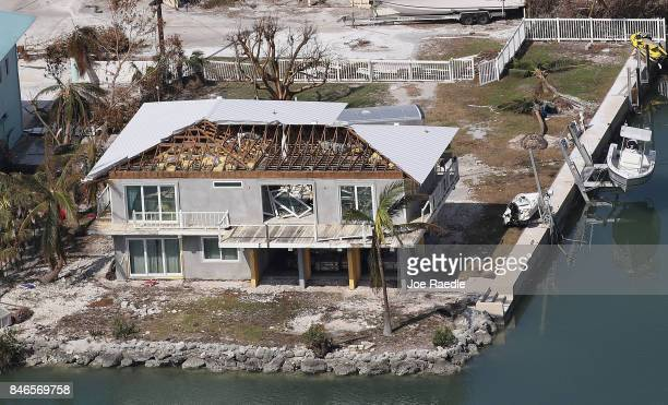 A damaged home is seen after Hurricane Irma passed through the area on September 13 2017 in Cudjoe Key Florida The Florida Keys took the brunt of the...