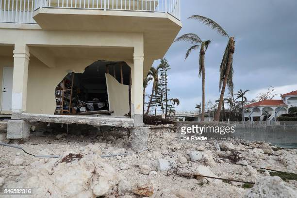 A damaged home is seen after Hurricane Irma passed through the area on September 13 2017 in Duck Key Florida The Florida Key's took the brunt of the...