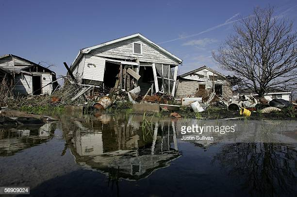 A damaged home is seen in the Lower Ninth Ward on February 22 2006 in New Orleans Louisiana The hurricane ravaged Ninth Ward is still mostly without...