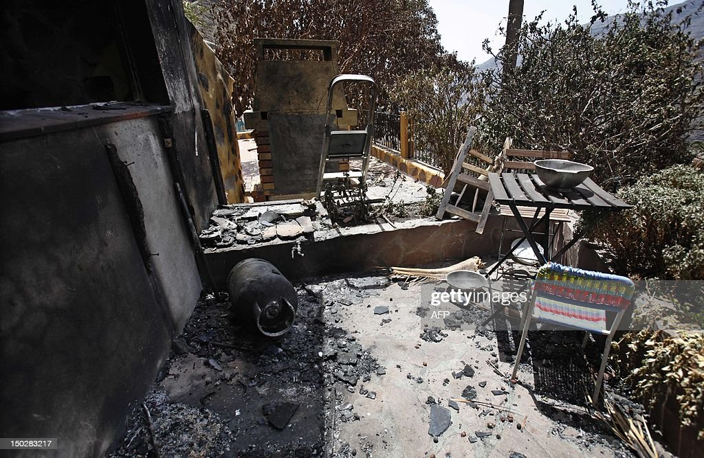 A damaged home is seen on August 14, 2012 in Valle Gran Rey after wildfires devastated the Spanish Canary island of La Gomera. The blaze on the Atlantic island of La Gomera which broke out more than a week ago has forced 5,000 people to be evacuated and ravaged more than 4,000 hectares (10,000 acres) of land, including part of a rare nature reserve.