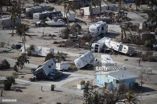 Damaged homes and RV's are seen at the Sunshine Key RV Resort Marina after Hurricane Irma passed through the area on September 13 2017 in Sunshine...