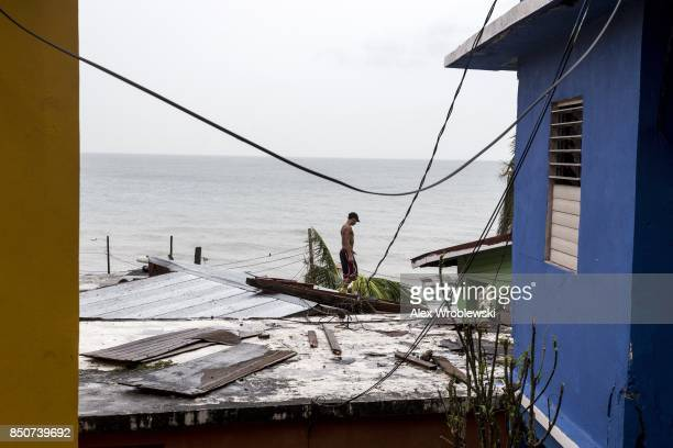 Damaged homes in the La Perla neighborhood the day after Hurricane Maria made landfall on September 21 2017 in San Juan Puerto Rico The majority of...