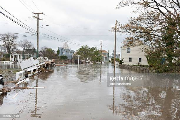 Damaged houses and flooded streets after Hurricane Sandy