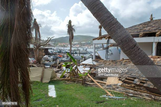Damaged houses and gardens as seen in Oyster Pond on the French Caribbean island of SaintMartin three weeks after the passing of Hurricane Irma in...