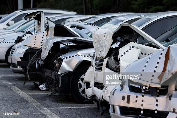 Damaged Hyundai Motor Co vehicles used for crash testing stand at the Korea Automobile Insurance Repair Research and Training Center operated by the...