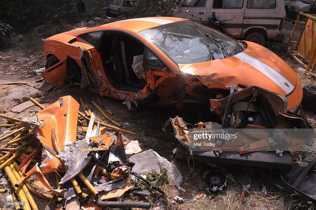 Damaged Lamborghini sports car after hitting a bicycle and crashed into a bus stop railing in South Delhi early Sunday The man who was driving the...