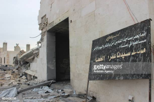 A damaged mosque is seen after warcrafts belonging to USA airforces carried out airstrikes during night prayer in AlJineh village of Atarib district...