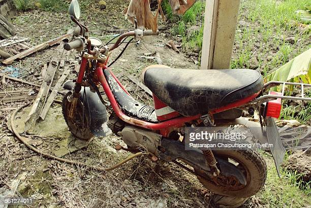 Damaged Motorcycle In Junkyard