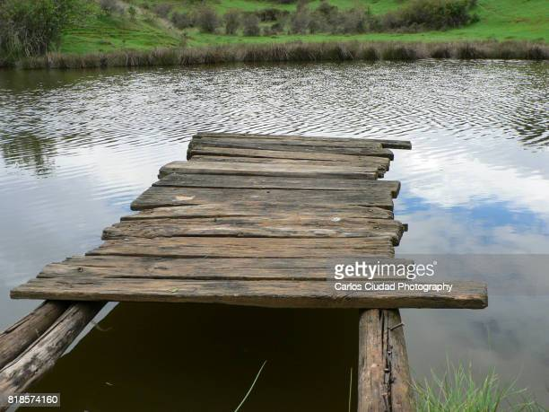 Damaged old wooden pier over small lake