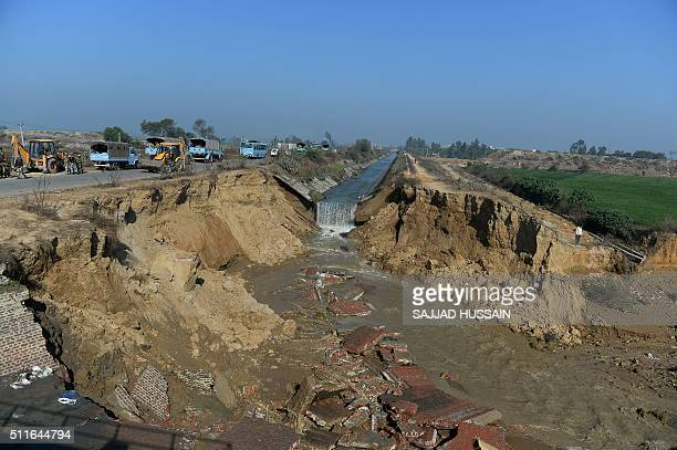A damaged portion of the Munak canal which supplies water to New Delhi near Bindroli village in Haryana's Sonipat district on February 22 2016 Indian...