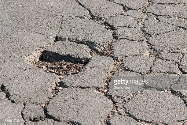 Damaged road close-up