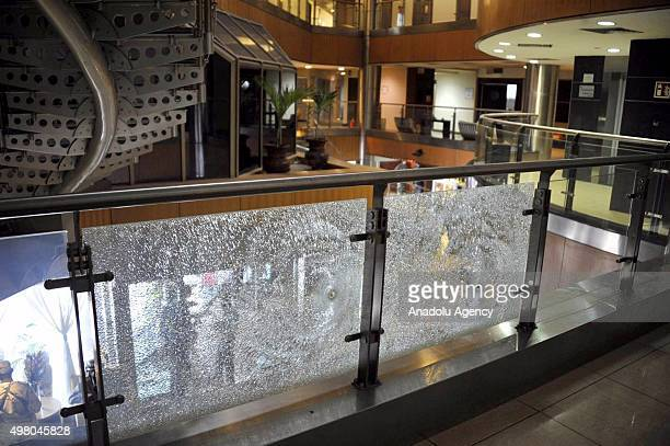 A damaged safety rail is seen inside the Radisson Blu hotel in Bamako on November 20 2015 Gunmen have taken 170 hostages and at least 20 people...