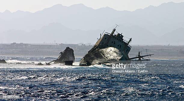 Damaged Ship Sinking In Sea