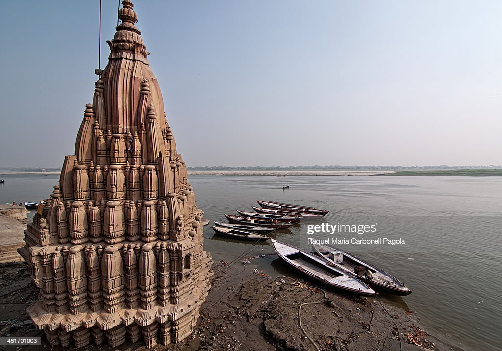 Damaged temple on the sacred river Ganges