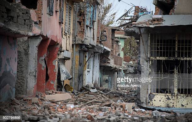 Damages buildings are seen in a neighbourhood under curfew for about a month as troops conduct counterterrorism operation in Turkeys southeastern...