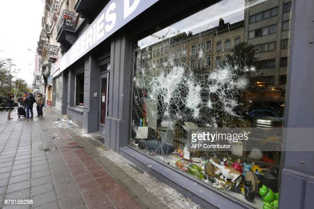 Damages due to riots which followed the qualification of the Morroco football team for the World Cup 2018 are pictured on November 12 2017 after...