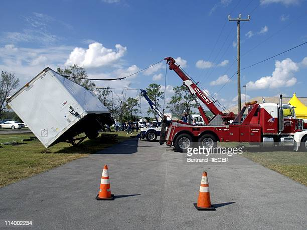 Damages left by Hurricane Jeanne In United States On September 27 2004A FEMA trailer that was blown over by hurricane Jeanne is up righted in Indian...