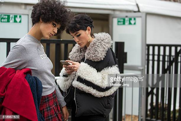 Damaris Goddrie and Heather Kemesky after the Topshop show at Tate Britain during London Fashion Week Autumn/Winter 2016/17 on February 21 2016 in...
