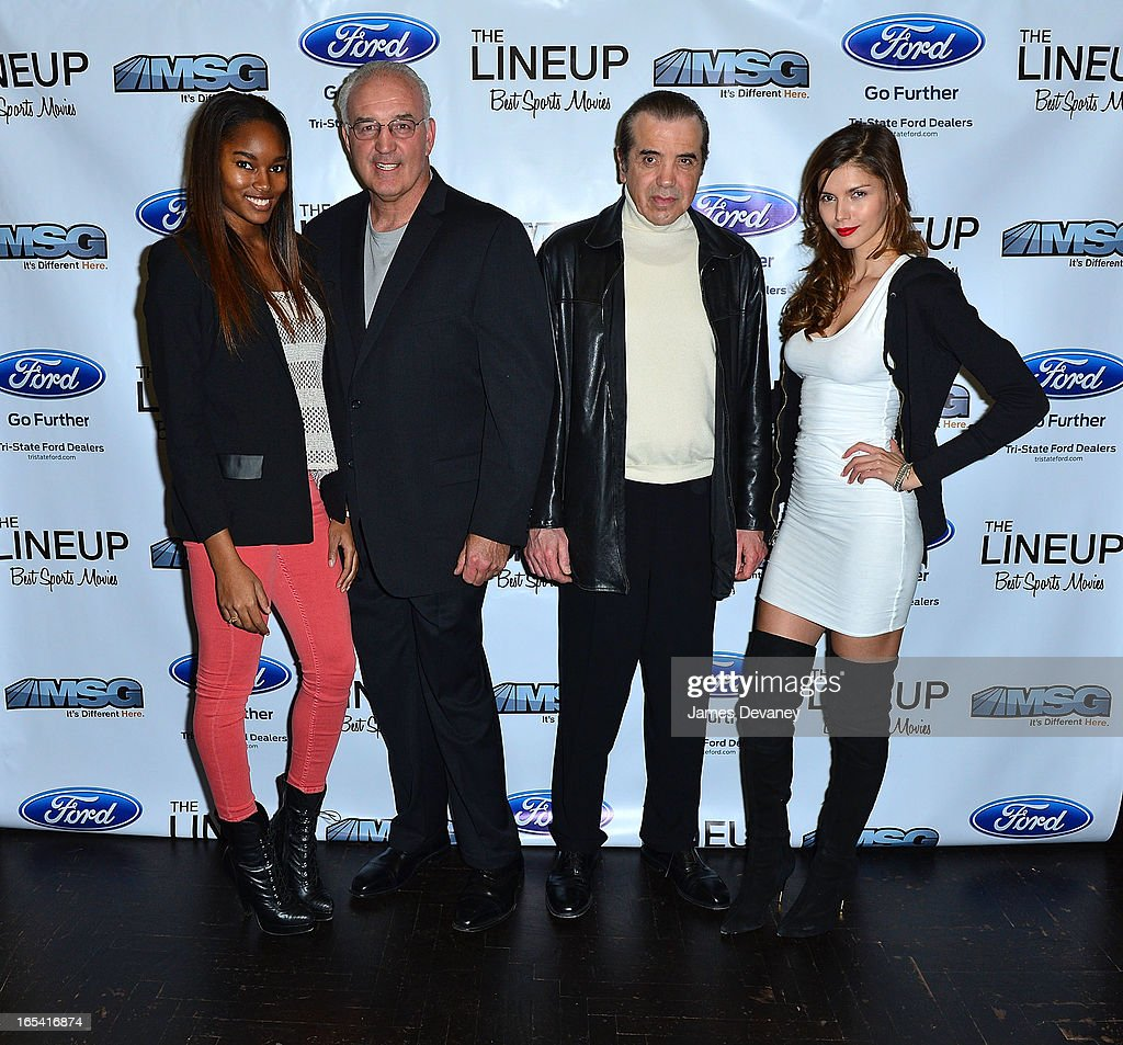 Damaris Lewis Gerry Cooney Chazz Palminteri and Alejandra Cata attend MSG Network's 'The Lineup Best Sports Movies' Launch Party at The Flatiron Room...