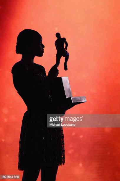 Damaris Lewis presents the Kia NBA Most Valuable Player award on stage during the 2017 NBA Awards Live On TNT on June 26 2017 in New York City...