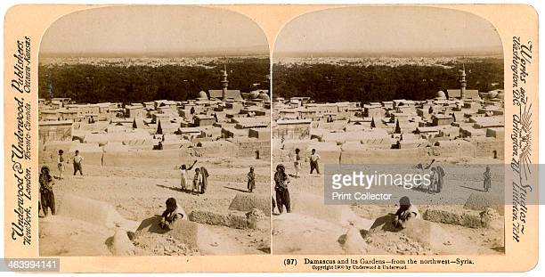 Damascus and its gardens as seen from the northwest Syria 1900 Stereosciopic slide