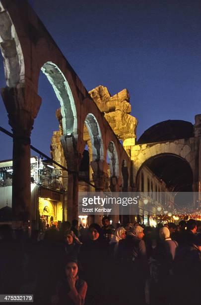 Damascus grand bazaar and old roman templs ruin