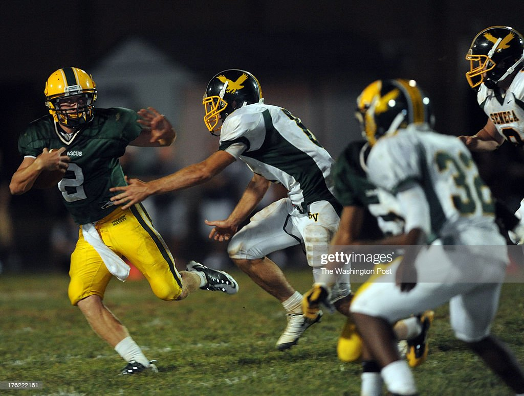 Damascus quarterback Connor Frazier avoids a Severna Park tackle during the game at Damascus High School on Friday September 24 2010 Damascus...